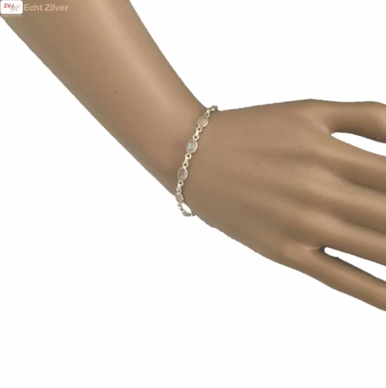Zilveren armband regenboog maansteen-2