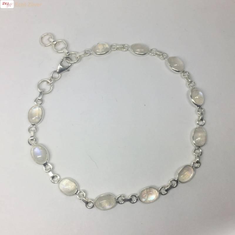 Zilveren armband regenboog maansteen-3