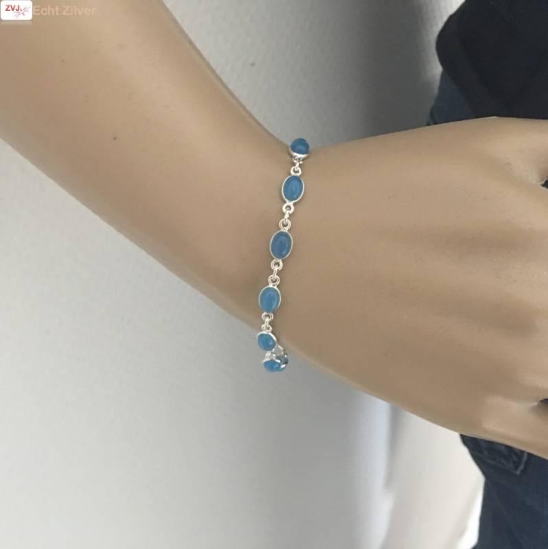 Zilveren armband blauwe chalcedoon-2