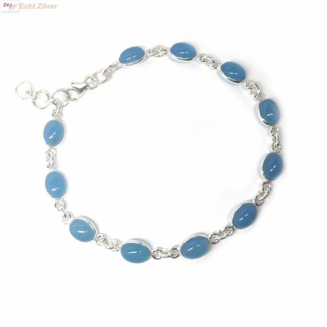 Zilveren armband blauwe chalcedoon