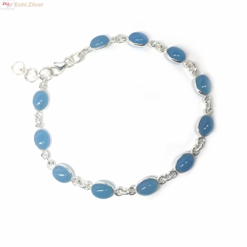 Zilveren armband blauwe chalcedoon-3
