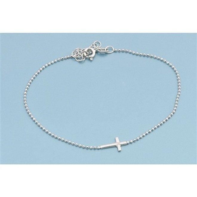Zilveren liggend kruis cadeau armbandje