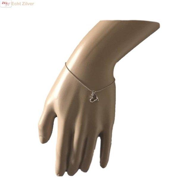 Zilveren open hartje  armbandje