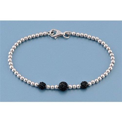 ZilverVoorJou Zilveren balletjes armband 3 zwarte bling kristallen