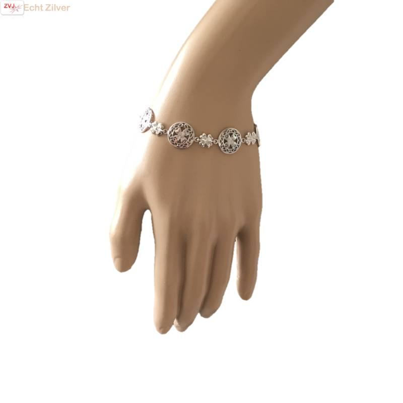 Zilveren klassieke klaver vier armband-2