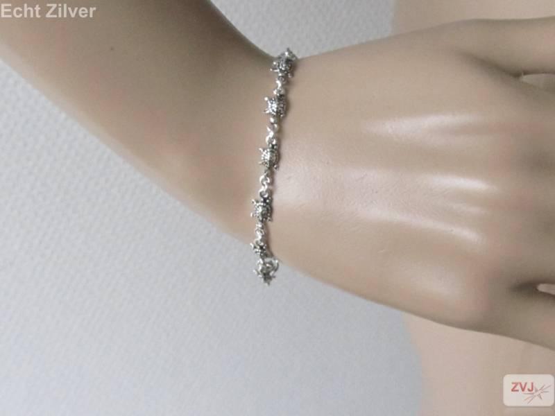 Zilveren turtle schildpad armband-2