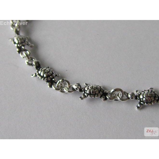 Zilveren turtle schildpad armband