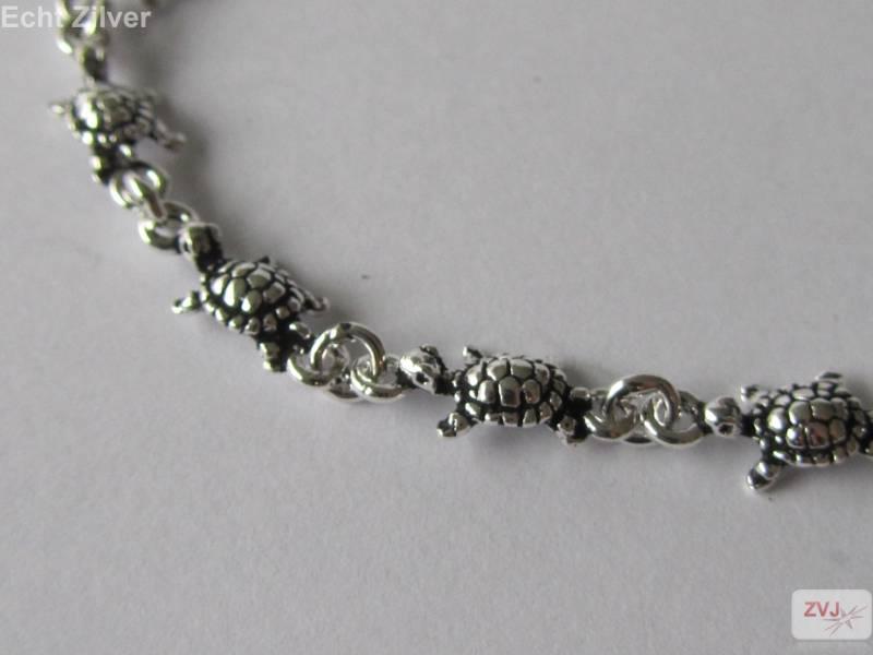 Zilveren turtle schildpad armband-3