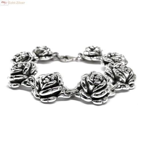 ZilverVoorJou Zilveren roos armband
