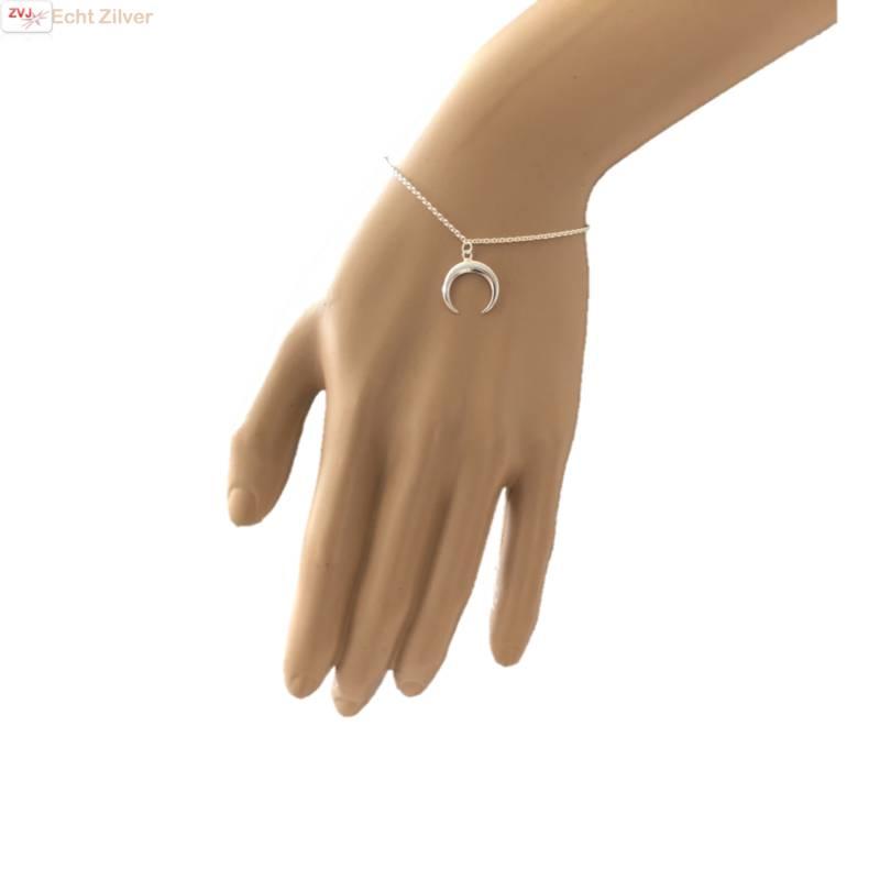 Zilveren halve maan armband-2
