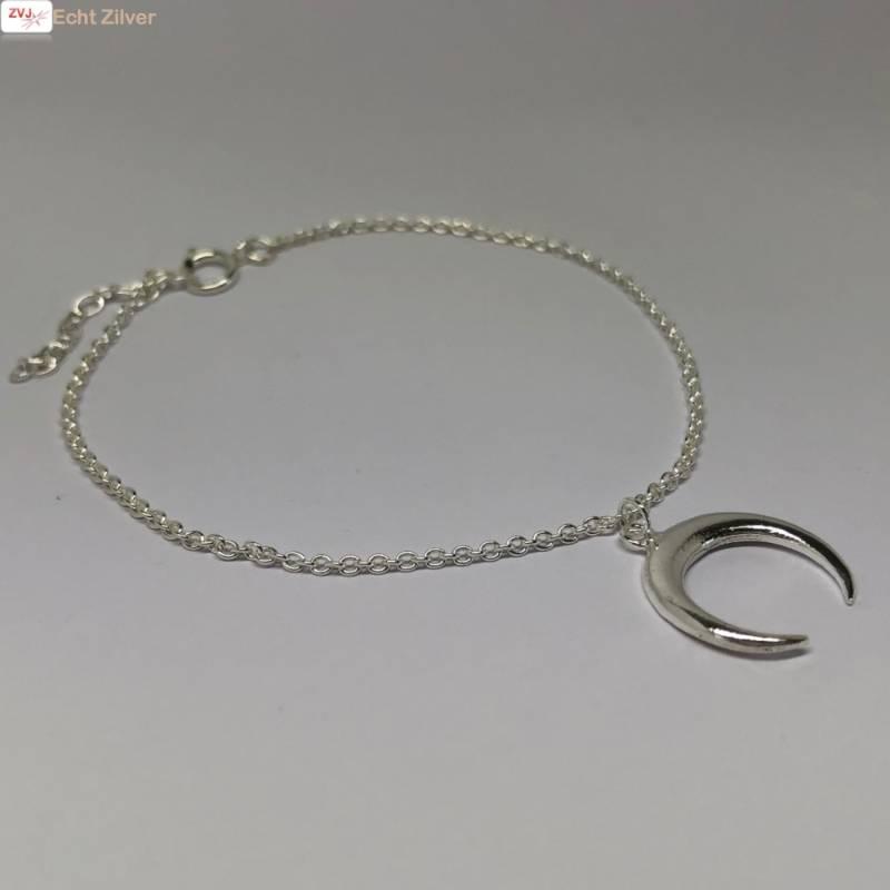 Zilveren halve maan armband-3
