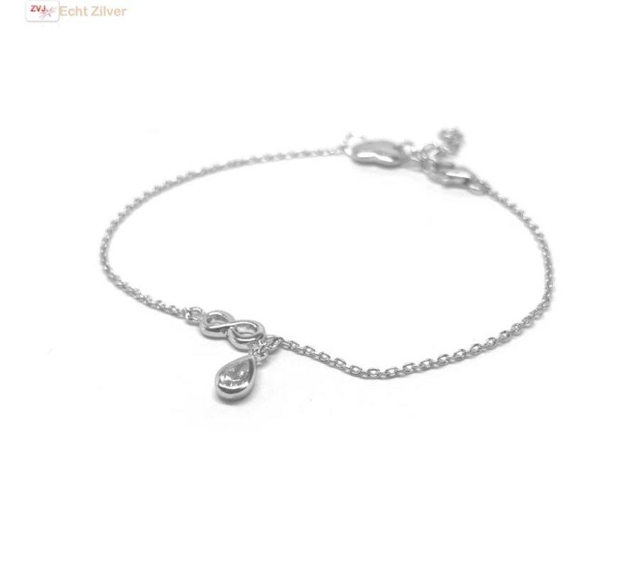 Zilveren armband hanger infinity druppel cz wit en hartje
