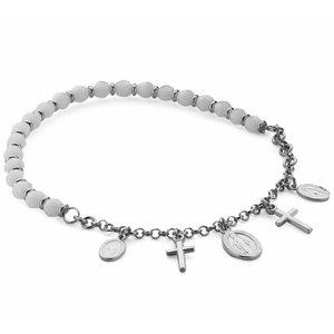 ZilverVoorJou Zilveren rekarmband wit met kruis en scapuliers