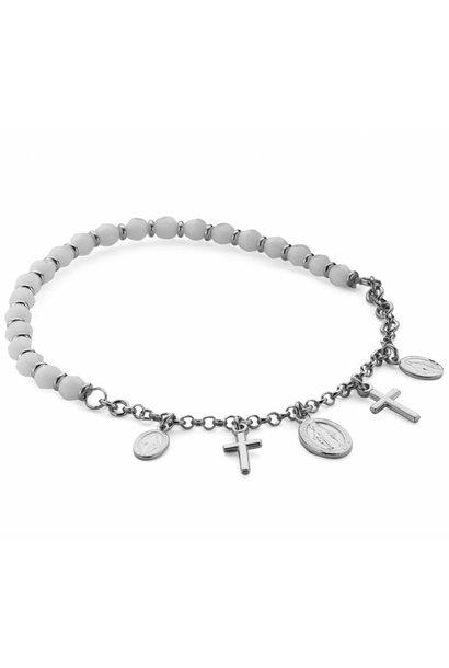 Zilveren rekarmband wit met kruis en scapuliers