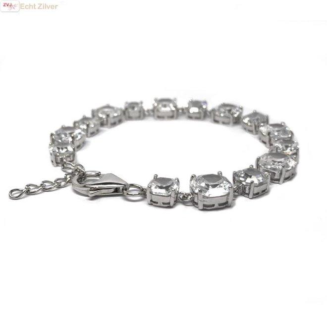 Zilveren armband witte zirkoon rhodium