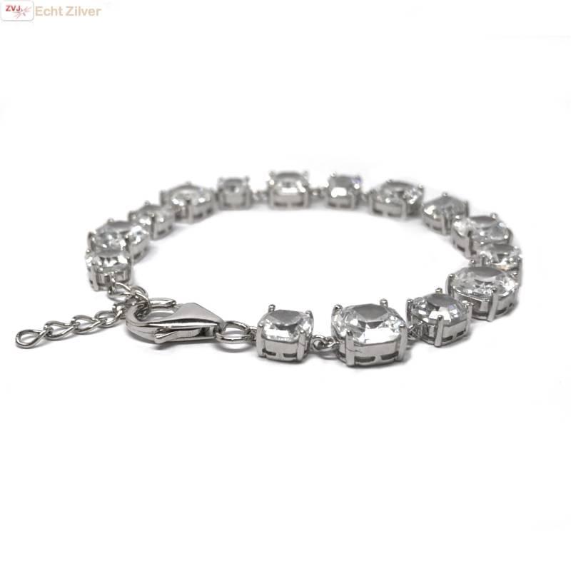 Zilveren armband witte zirkoon rhodium-3