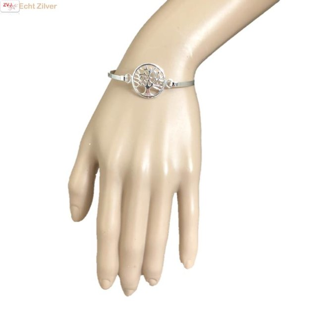 Zilveren tree of life levensboom bangle armband