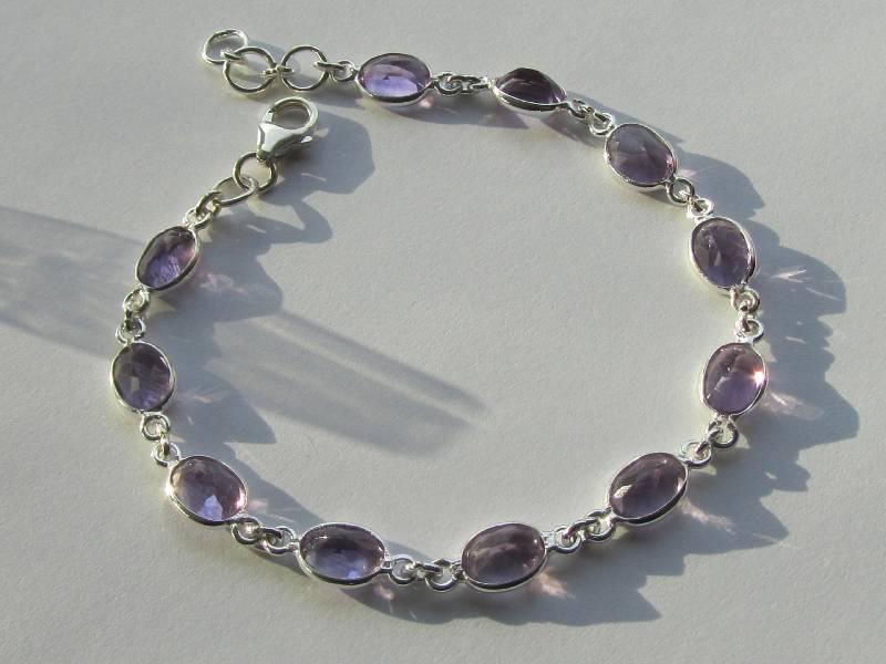 Echt 925 Zilveren chakra armband met ametist, amethist-3
