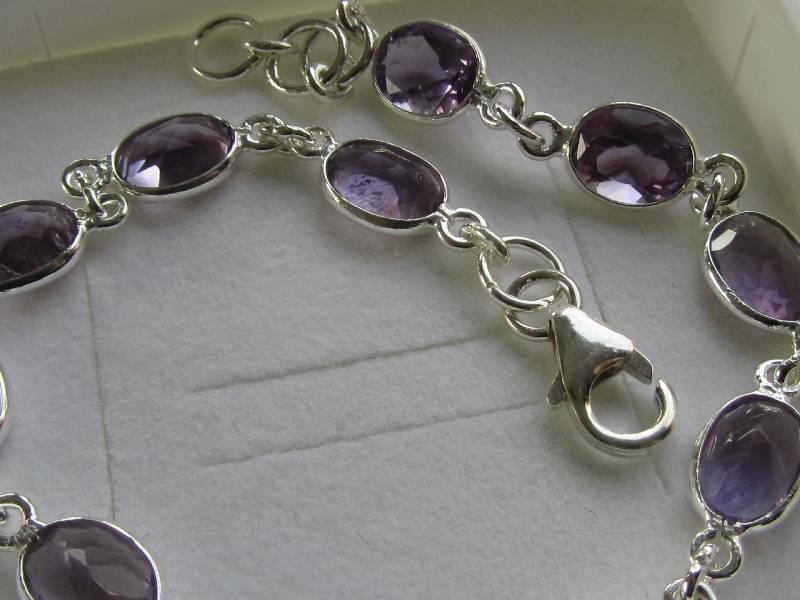 Echt 925 Zilveren chakra armband met ametist, amethist-4