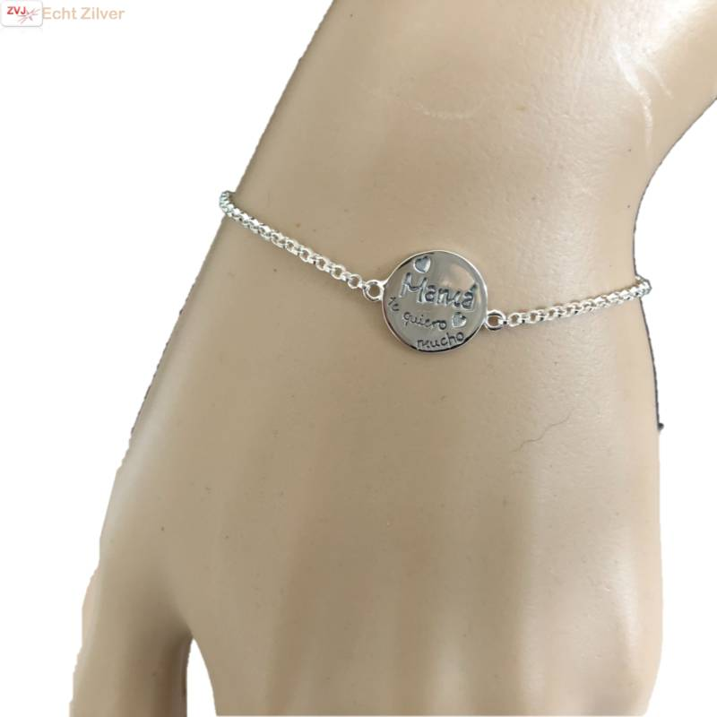 Zilveren  en quotMama en #039 te quiero mucho en quot armbandje-3