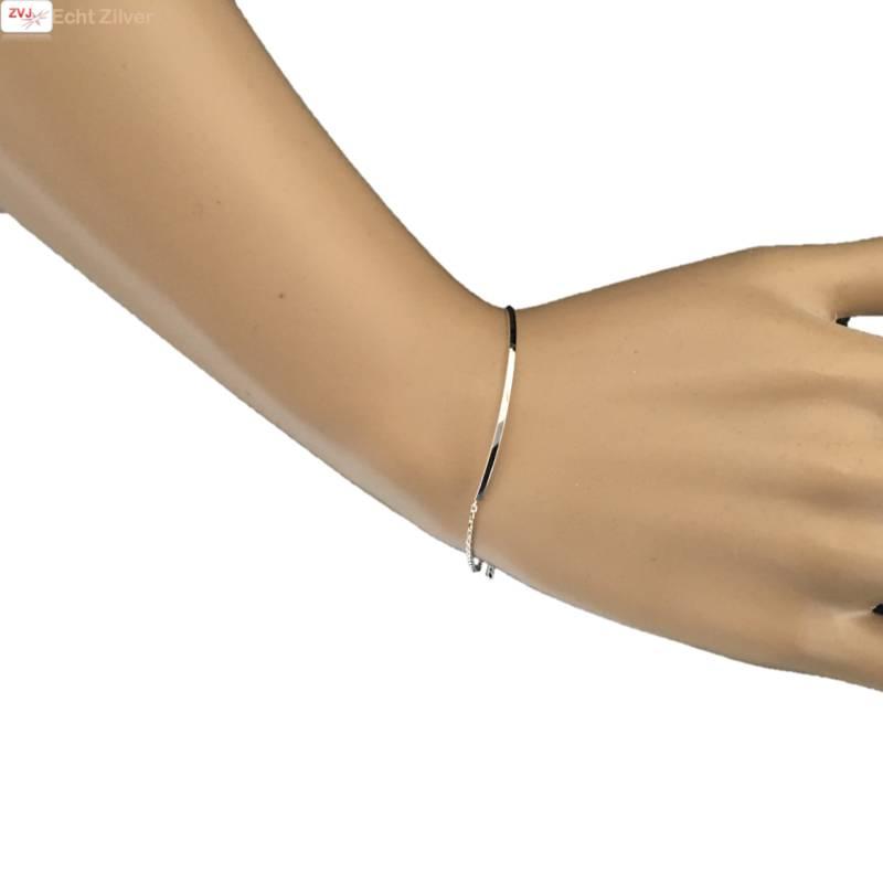 Zilveren bar staaf armbandje-2