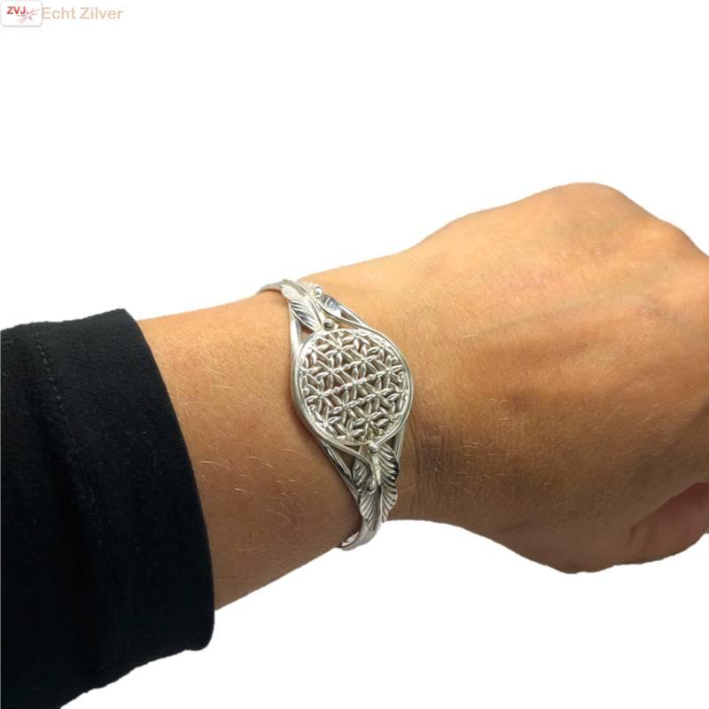 Zilveren levensbloem cuff armband-2