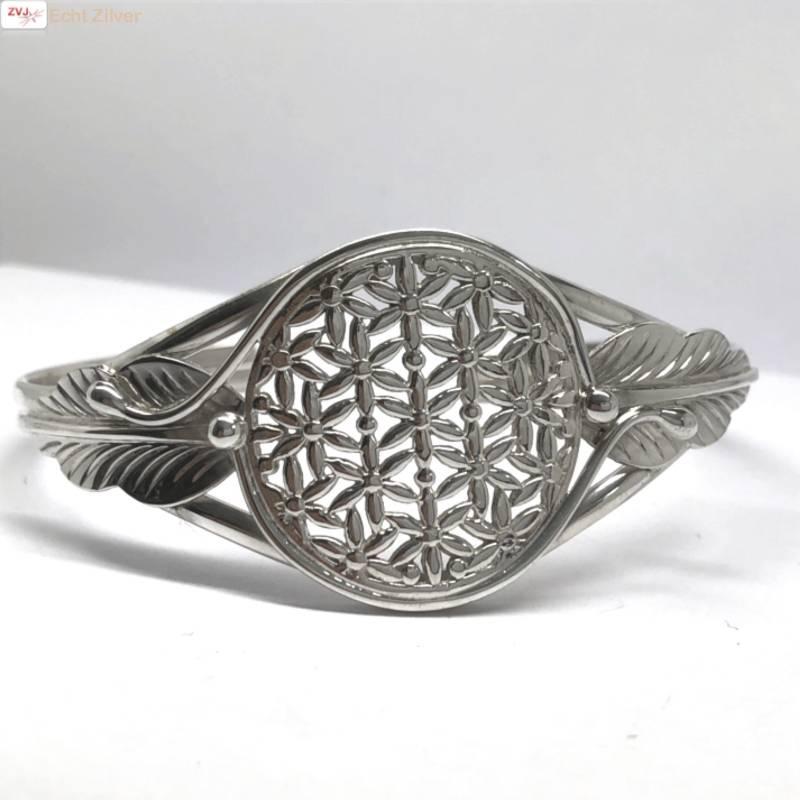 Zilveren levensbloem cuff armband-3