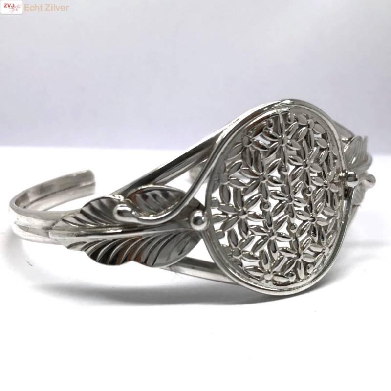 Zilveren levensbloem cuff armband-4