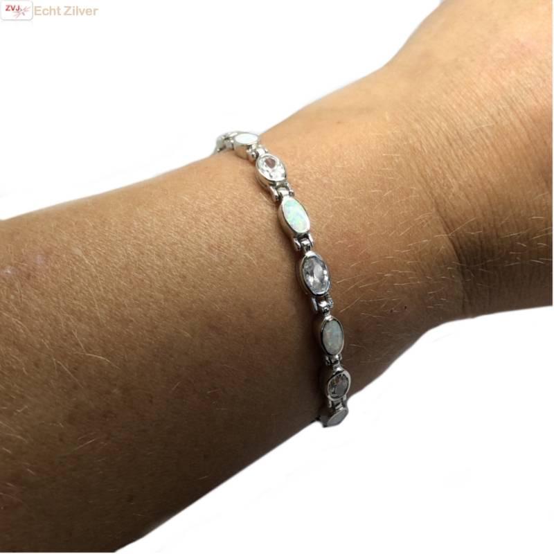 Zilveren witte opaal en zirkonia armband-2