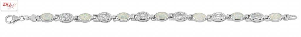 Zilveren witte opaal en zirkonia armband-3