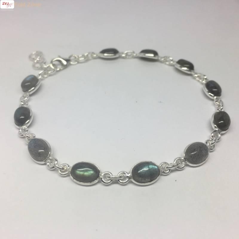 Zilveren armband labradoriet edelsteentjes-3