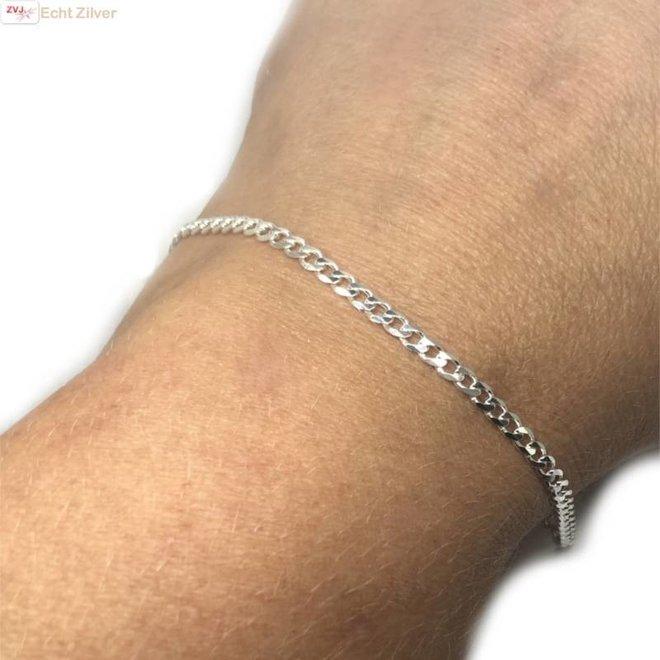 Zilveren platte gourmet schakel armbandje 20 cm
