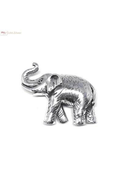 Zilveren olifant sierspeld broche