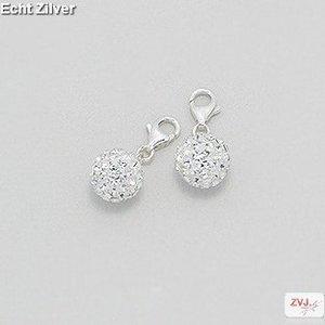 ZilverVoorJou Zilveren witte kristal bal charm bedel hanger