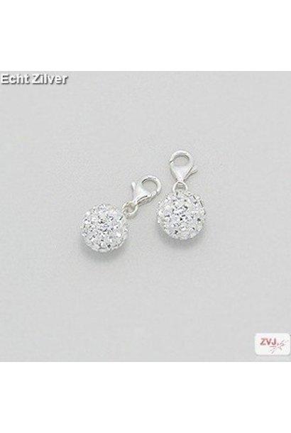Zilveren witte kristal bal charm bedel hanger