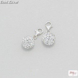Zilveren witte kristal bal charm bedel hanger-1