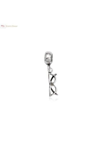 zilveren charm bedel bril geoxideerd