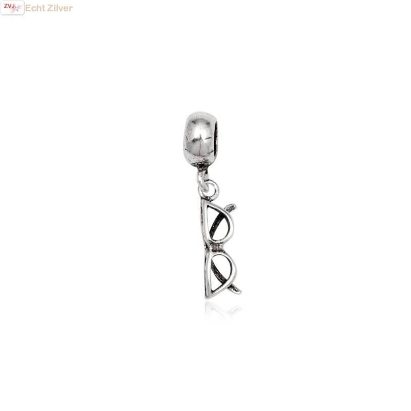 zilveren charm bedel bril geoxideerd-1