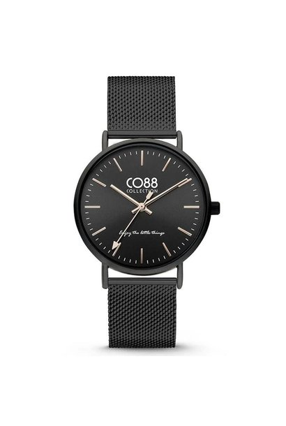 CO88 Collection 8CW-10013 Horloge mesh zwart  Ø 36 mm