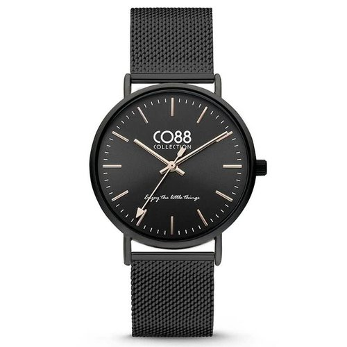 CO88 CO88 Collection 8CW-10013 Horloge mesh zwart  Ø 36 mm