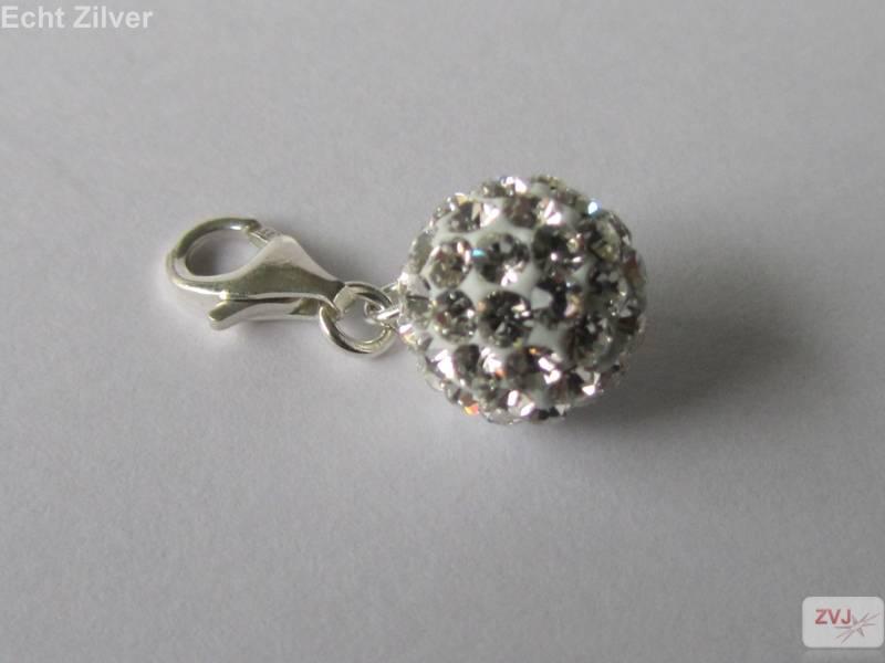 Zilveren witte kristal bal charm bedel hanger-2