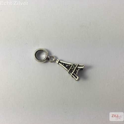ZilverVoorJou Zilveren charm bedel eiffeltoren geoxideerd