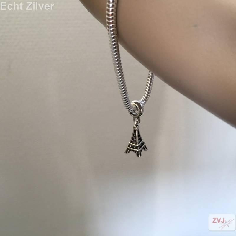 Zilveren charm bedel eiffeltoren geoxideerd-2