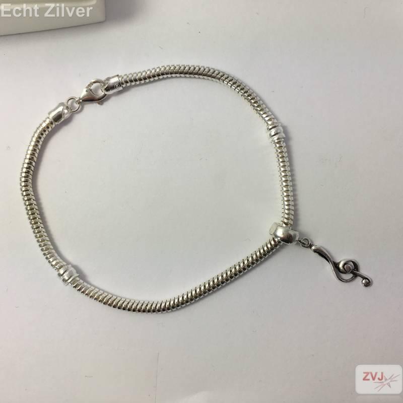 Zilveren charm bedel vioolsleutel geoxideerd-2