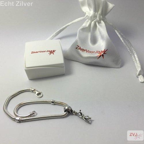 ZilverVoorJou zilveren charm bedel bril geoxideerd