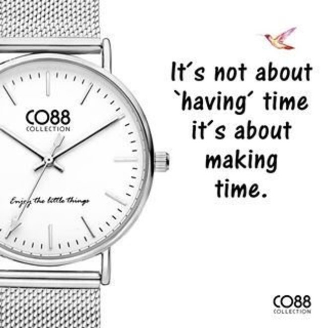 CO88 Collection 8CW-10002 Horloge mesh zilver Ø 36 mm