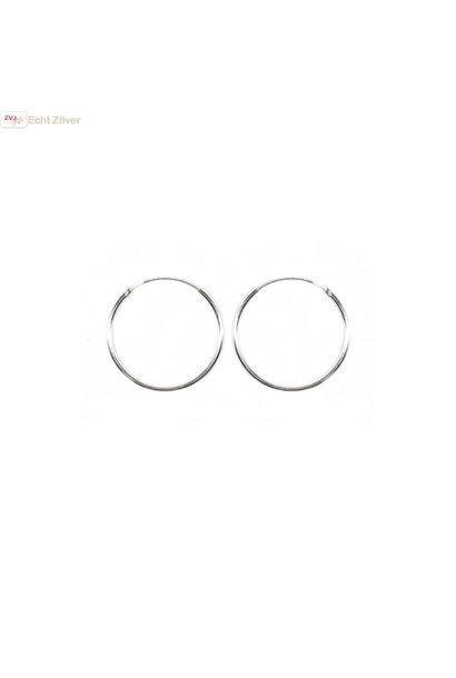 Zilveren creolen oorringen groot 22 mm 1.2 mm breed