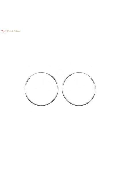 Zilveren creolen oorringen groot 25 mm 1.2 mm breed