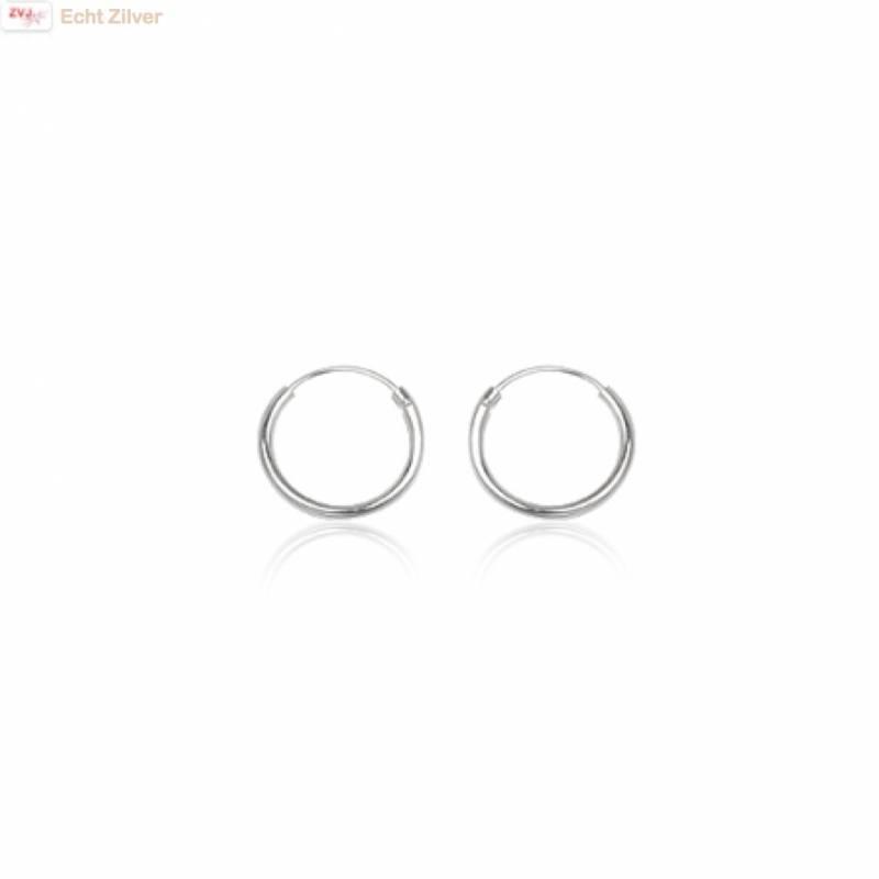 Zilveren mini creolen oorringen ronde buis 12 x 1.2 mm breed-1