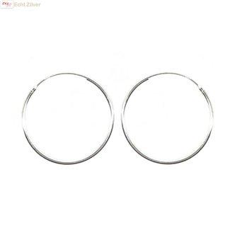 ZilverVoorJou Zilveren creolen oorringen groot 35  mm 1.2 mm breed